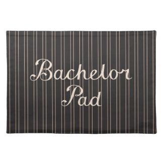Bachelor Pad Script on Pin Stripes – Cream & Black Placemats