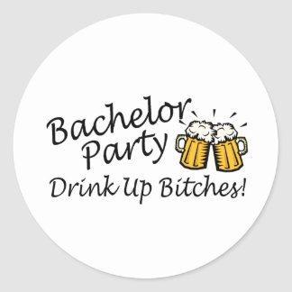 Bachelor Party Beer Jugs Round Sticker