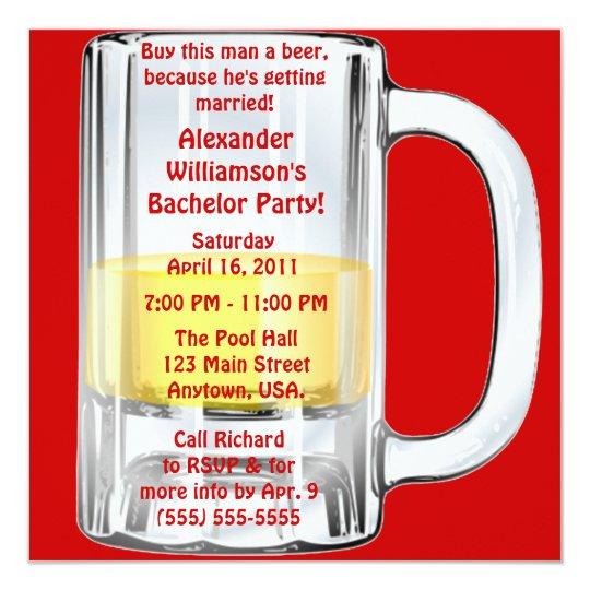 Bachelor Party Beer Mug Card