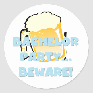 Bachelor Party Beware T-shirts and Gifts Stickers