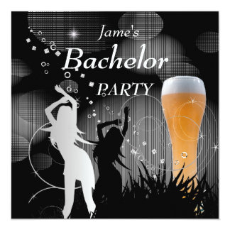 "Bachelor Party Black Gold White Beer Glass Girls 5.25"" Square Invitation Card"