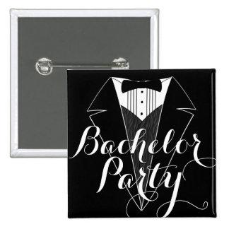 Bachelor Party Black Tux Wedding Party Button