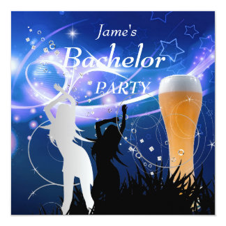 """Bachelor Party Blue Gold White Beer Glass Girls 5.25"""" Square Invitation Card"""