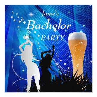 "Bachelor Party Blue Gold White Beer Glass Girls 5.25"" Square Invitation Card"