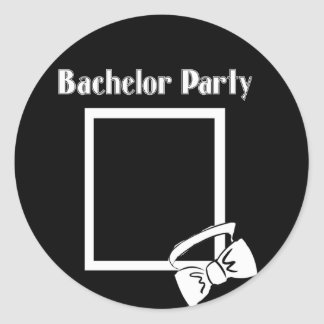 bachelor party bow tie round sticker