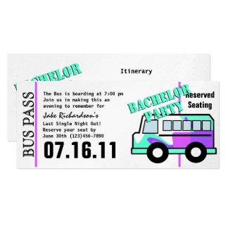 Bachelor Party Bus Pass 10 Cm X 24 Cm Invitation Card