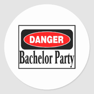 Bachelor Party Danger Round Sticker