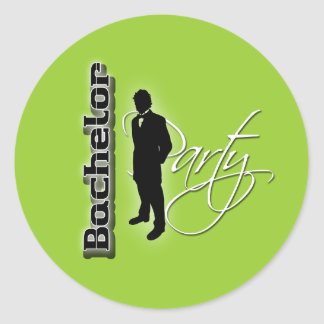 Bachelor party distinguished groom round sticker