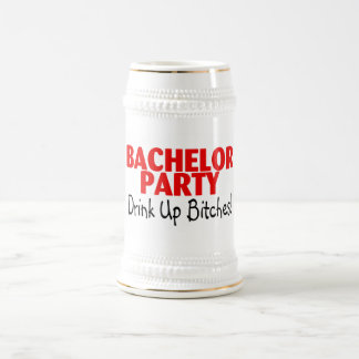 Bachelor Party Drink Up Red Black Beer Steins