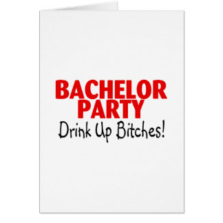 Bachelor Party Drink Up Red Black Greeting Card