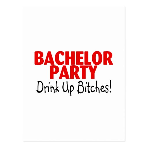 Bachelor Party Drink Up Red Black Postcard