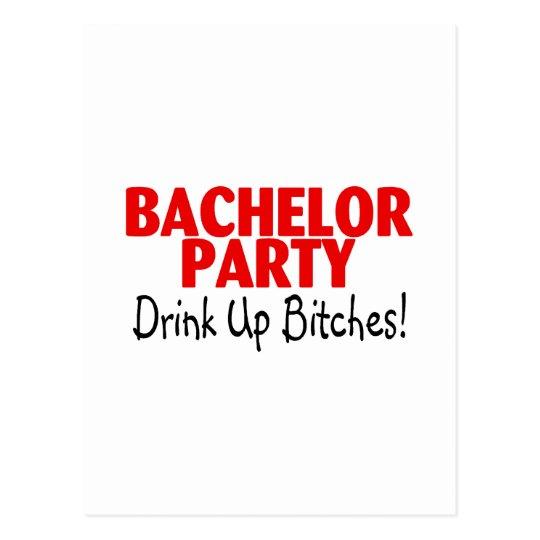 Bachelor Party Drink Up Red Black Postcard
