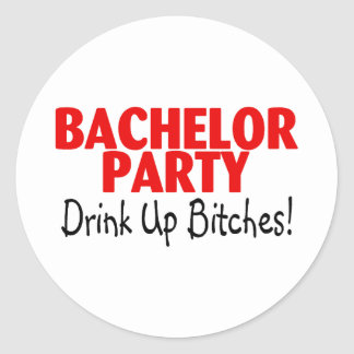Bachelor Party Drink Up Red Black Round Sticker