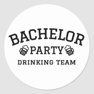 Bachelor party drinking team t-shirt round sticker