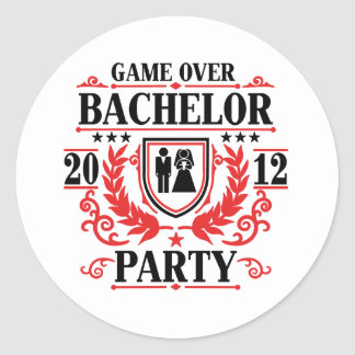 bachelor party game over 2012 round sticker