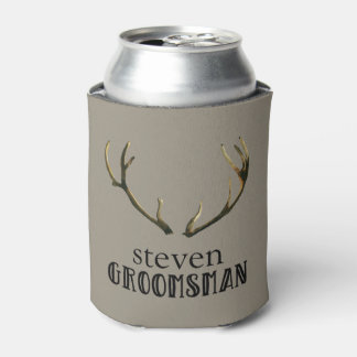 Bachelor Party Groomsman Antlers Coozie Beer Can