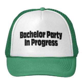 Bachelor Party In Progress (Blk) Trucker Hats