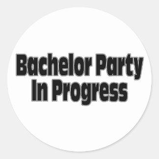 Bachelor Party In Progress (Blk) Sticker