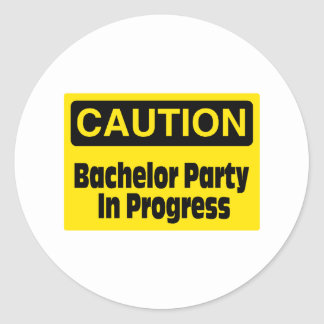 Bachelor Party In Progress Round Sticker