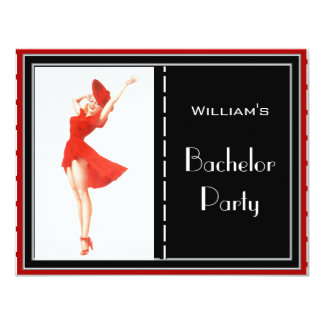 Bachelor Party Invitation Red Black White 2