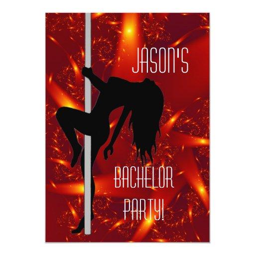 Bachelor Party Invitation - Stripper Girl Purple