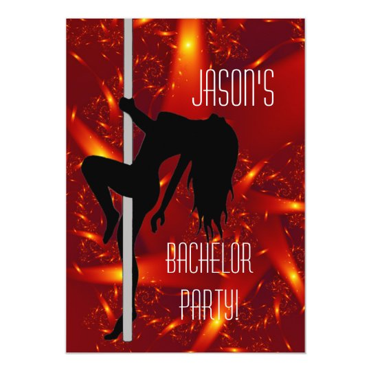 Bachelor Party Invitation - Stripper Girl Purple