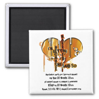 Bachelor party invitations template square magnet