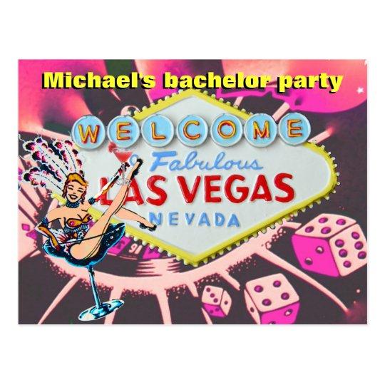 Bachelor Party Las Vegas Invite Postcard
