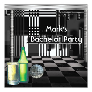 Bachelor Party Mens Drinks Black And White Silver 13 Cm X 13 Cm Square Invitation Card