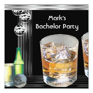 Bachelor Party Mens Drinks Black Silver 13 Cm X 13 Cm Square Invitation Card