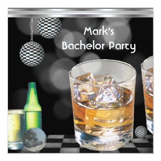 Bachelor Party Mens Drinks Black Silver 2 13 Cm X 13 Cm Square Invitation Card