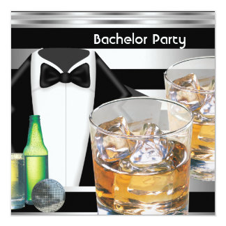 Bachelor Party Mens Drinks Tuxedo Black Silver 13 Cm X 13 Cm Square Invitation Card