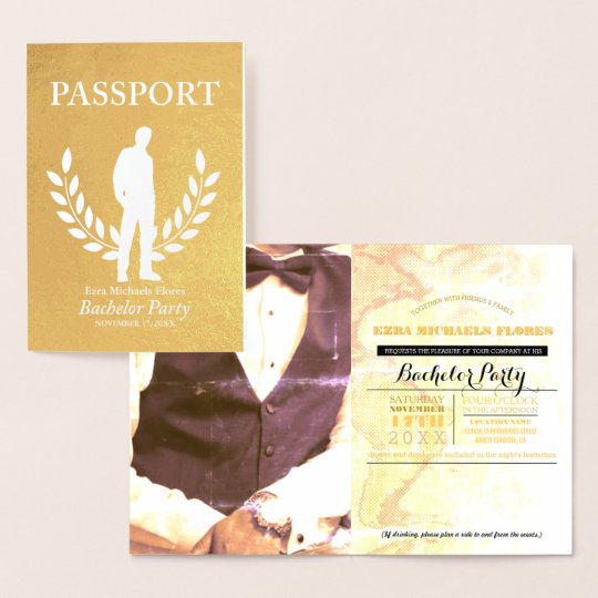Bachelor Party passport gold foil Foil Card