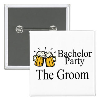 Bachelor Party The Groom 15 Cm Square Badge