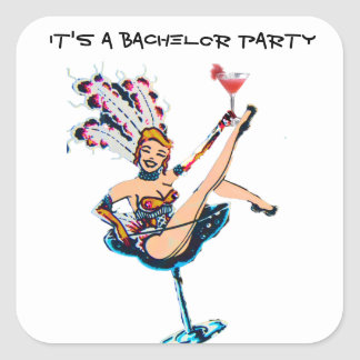 Bachelor Party Vegas Casino Showgirl Square Sticker