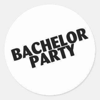 Bachelor Party Wedding Black Round Sticker