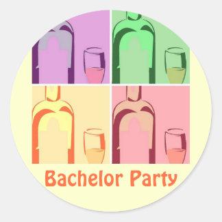 Bachelor Party Wine Round Sticker