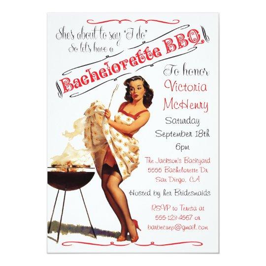 Bachelorette BBQ Barbecue party invitation