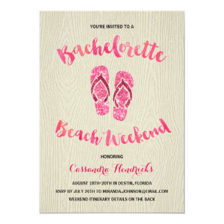 Bachelorette Beach Weekend with Pink Faux Glitter 13 Cm X 18 Cm Invitation Card