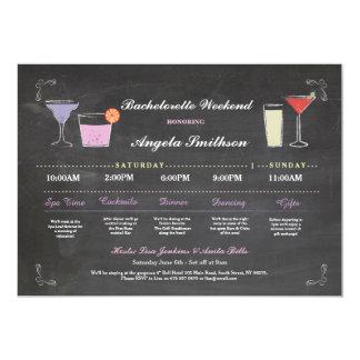 Bachelorette Bridal Shower Chalk Purple Itinerary 13 Cm X 18 Cm Invitation Card
