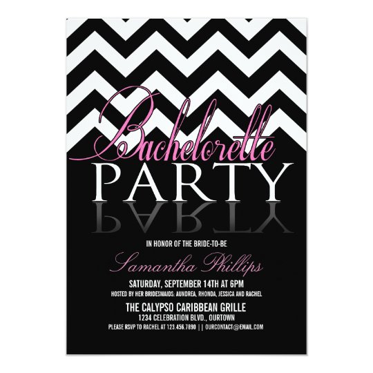 Bachelorette Chevron Party Invitations