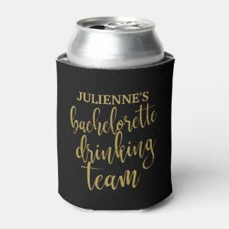 Bachelorette Drinking Team Stylish Gold Glitter Can Cooler