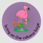 Bachelorette Flamingo/Cabana Boys Stickers