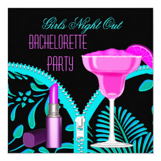 Bachelorette Girls Night Out Teal Hot Pink 13 Cm X 13 Cm Square Invitation Card