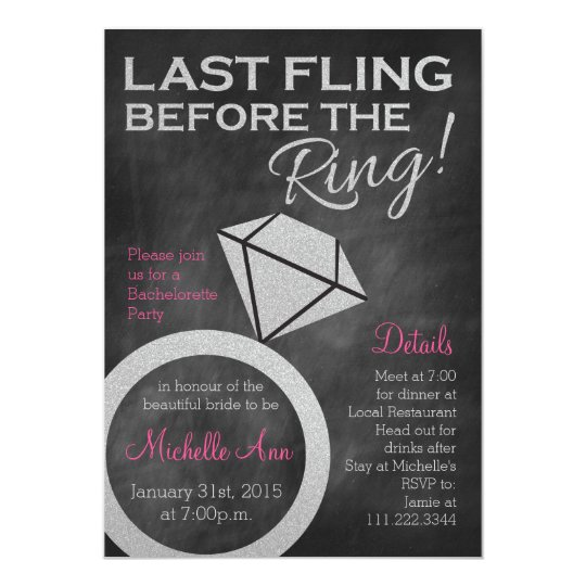 Bachelorette Invite- Last Fling Before the Ring Card