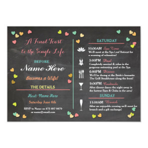 Bachelorette Itinerary Weekend Hen Bridal Shower Invitation