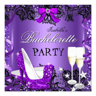 Bachelorette Lace Purple High Heel Champagne 3 13 Cm X 13 Cm Square Invitation Card