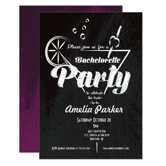 Bachelorette Martini Glass Party Invitation