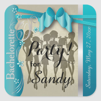 Bachelorette or Birthday Party Diva Girls - Blue Square Sticker