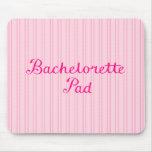 Bachelorette Pad Script on Pink Candy Stripes Mousepad